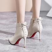 高跟短靴女2020年新款加絨細跟尖頭短筒白色靴子女士秋冬季高跟鞋 蘿莉新品