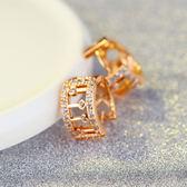 【5折超值價】最新款經典特色鑲鑽銅鍍香檳金女款耳飾