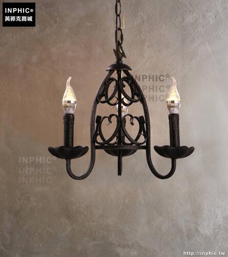 INPHIC- 美式鄉村個性鐵藝蠟燭吊燈復古創意餐廳客廳臥室三頭燈飾_S197C