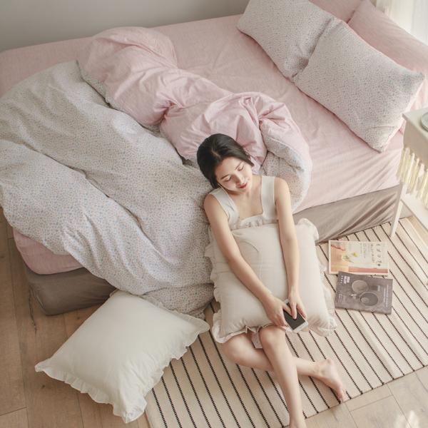 純棉 床包被套組(鋪棉被套) 雙人【小實】ikea風 100%精梳棉 翔仔居家