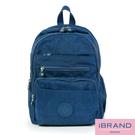 【i Brand】輕盈防潑水多口袋尼龍後背包-深海藍 MDS-8551-寶藍