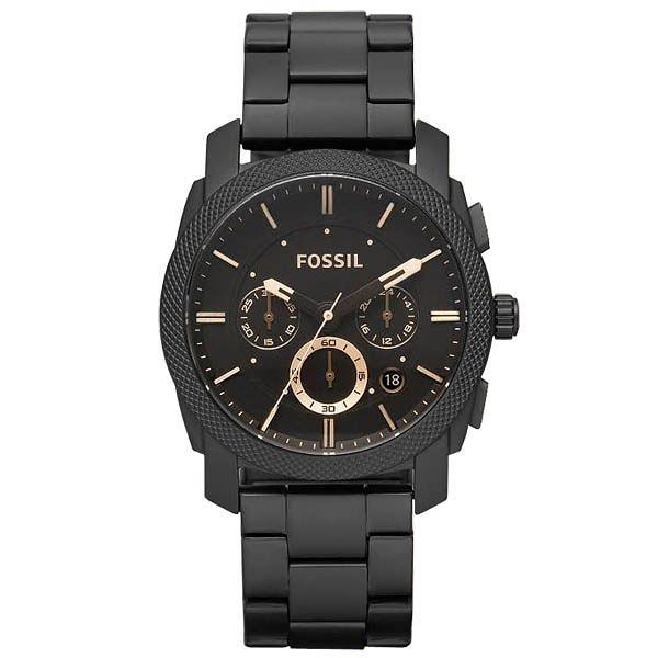 FOSSIL 絕讚霸氣視覺三眼計時腕錶(鋼帶-咖啡)