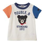 DOUBLE_B 日本製 經典款黑熊頭短袖T恤 (拚色袖子)