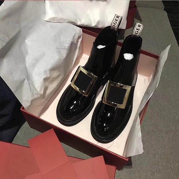 劉雯同款rv秋冬新款短靴唐嫣切爾西靴水鉆方扣裸靴平底粗跟馬丁靴