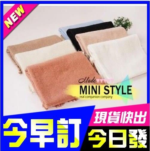 [24hr-快速出貨]  新年 禮物 純色 棉質 針織 圍巾 披肩 圍巾 兩用 保暖 配件 日本 流蘇 加厚