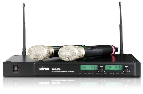 ^聖家^MIPRO 嘉強UHF雙頻道自動選訊無線麥克風 ACT-600【全館刷卡分期+免運費】