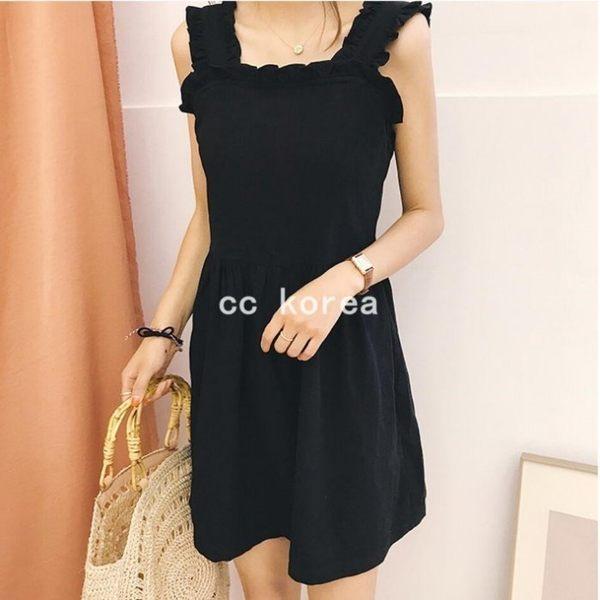 花邊吊帶閨密黑色洋裝 CC KOREA ~ Q16659