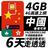 【TPHONE上網專家】中國移動 6日 4GB大流量 4G高速上網 香港可用 不須翻牆 FB/LINE直接用