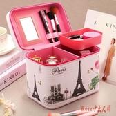 2019新款韓版少女大容量皮面化妝箱便攜簡約多功能層收納包盒LXY1481【Rose中大尺碼】
