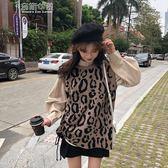 豹紋套頭馬甲女針織冬百搭燈籠袖立領襯衫 奈斯女裝
