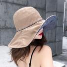 《條紋帽》條紋雙面可戴大帽沿遮陽帽 帽沿...