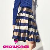 【SHOWCASE】光澤質感條紋打褶及膝裙(藍)