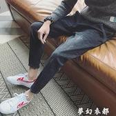 秋季黑色破洞牛仔褲男士修身大碼韓版潮流學生小腳褲子直筒九分褲 聖誕節全館免運