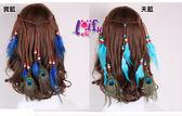 依芝鎂★H806髮帶頭飾吉普賽民族風流蘇手工製作孔雀羽毛麻花辮髮飾髮帶髮圈頭飾,售價180元