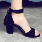 涼鞋女夏2018新款韓版中跟一字扣帶流蘇百搭粗跟高跟鞋黑色33-41