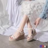 【貝貝】楔型涼鞋 坡跟涼鞋 一字帶 羅馬鞋 厚底 女鞋