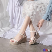 Bbay 楔型涼鞋 坡跟涼鞋 一字帶 羅馬鞋 厚底 女鞋