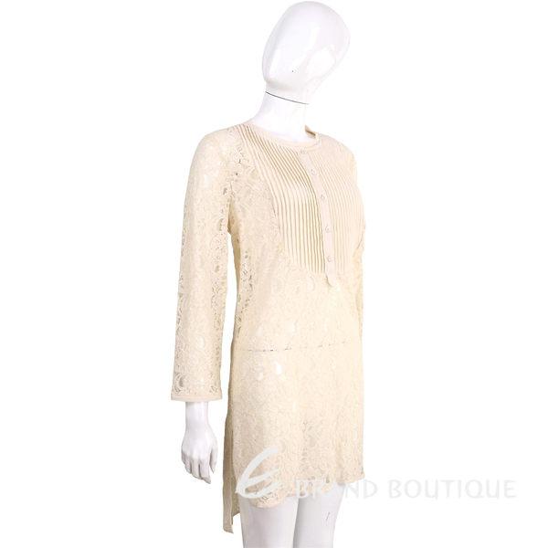 SCERVINO 米黃色百摺蕾絲長袖洋裝 1620317-40