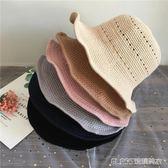 棉麻漁夫帽韓版百搭盆帽透氣禮帽針織可折疊帽子     琉璃美衣