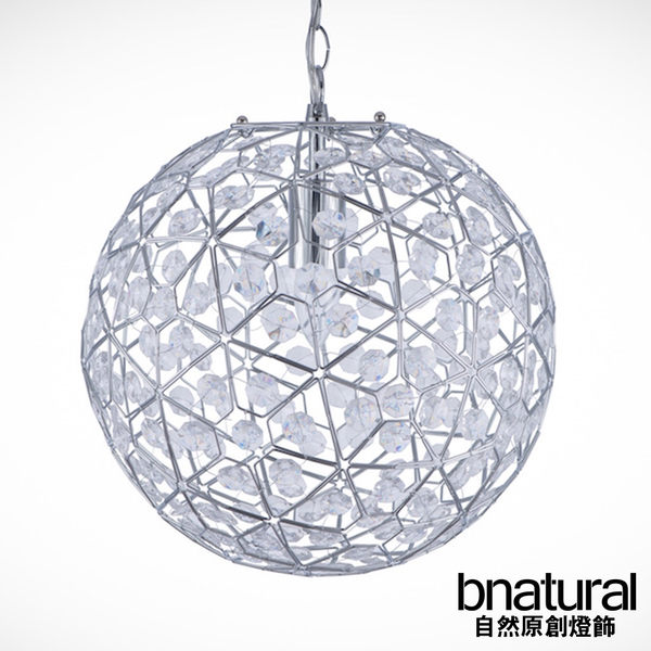 bnatural 圓形鍍鉻框透明壓克立珠吊燈(BNL00069)