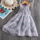 新品女童童裝刺繡花朵網紗休閒蓬蓬紗裙氣質連衣裙 - 巴黎衣櫃
