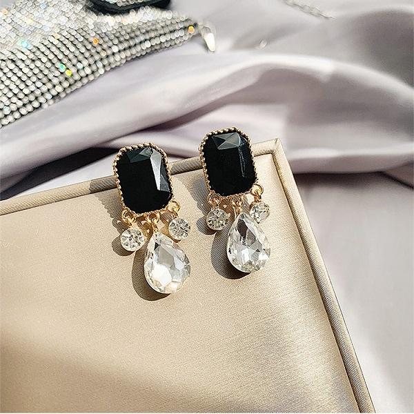 【NiNi Me】韓系耳環 韓劇德魯納同款 優雅復古鋯石水鑽925銀針耳環 耳環 N0505