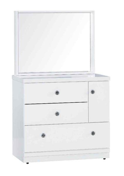 【森可家居】雪白鏡台(不含椅) 7JX19-7 斗櫃梳化妝檯 北歐風