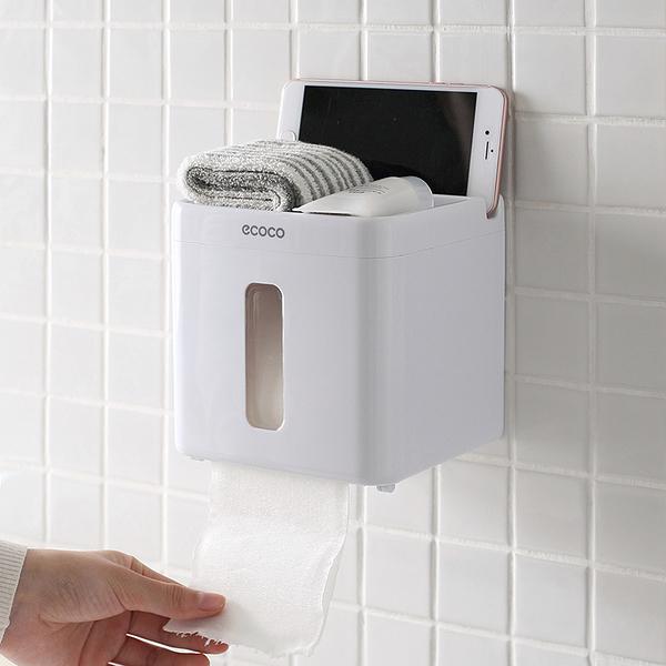 衛生紙架紙巾盒 免打孔壁掛式廁所可視捲紙廁紙盒衛生紙架65431【特價】
