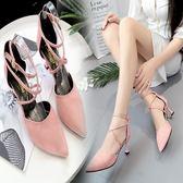 高跟鞋 - 涼鞋一字扣高跟鞋中跟尖頭細跟休閑女單鞋【韓衣舍】