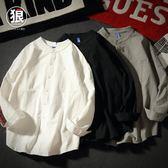 潮流古風襯衫男純長袖立領襯衫前短后長寬鬆素面款 限時八五折 鉅惠兩天