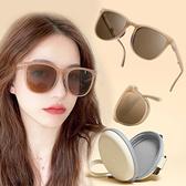 caroline 2021現貨鉚釘新款 便攜式氣墊可折疊太陽眼鏡 贈送專屬圓形收納盒 掌上時尚米釘墨鏡73630