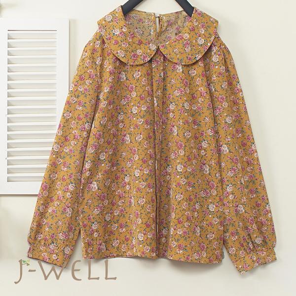 J-WELL 甜美小碎花圓領片上衣 (2色) 9J1117