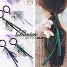 現貨 韓國熱賣氣質甜美浪漫女神立體花朵緞帶優雅飄逸珍珠髮束 S7880 單個價 Danica 韓系飾品