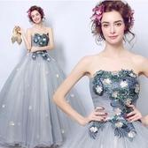 M-天使嫁衣 璀璨花朵 灰色晚宴年會舞台演出藝考長款禮服3206