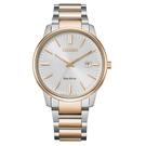【台南 時代鐘錶 CITIZEN】星辰 光動能 PAIR 對錶 日期 光動能 鋼錶帶男錶 BM7526-81A 白/玫瑰金 39mm