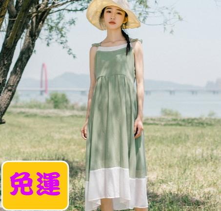 森林系春夏新款無袖氣質連身長裙1色300P64【Brag Na義式精品