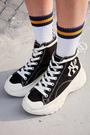 IMPACT MLB HyunA's Pick Chunky Shoes 黑 白 洋基 高筒 增高 厚底 泫雅 32SHU1011
