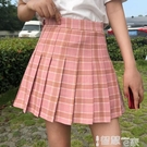 JK裙 格子百摺裙短裙女2021春夏新款高腰學生jk格裙大碼a字顯瘦半身裙 智慧 618狂歡