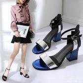 涼鞋 韓版休閒露趾高跟鞋一字扣粗跟百搭女