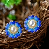 耳環 純銀鍍14K珍珠-優雅大方生日情人節禮物女飾品73hl9【時尚巴黎】