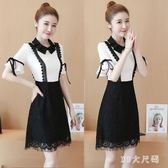 新款夏裝氣質蕾絲連衣裙顯瘦娃娃領A字裙小清新雪紡洋裝裙 EY3940 『M&G大尺碼』