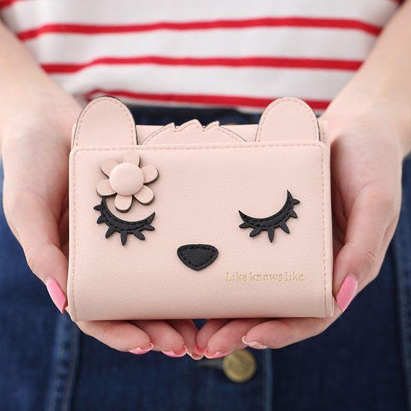 妮可邦妮日韓版三折疊小清新可愛咪眼貓學生錢包【時尚家居館】