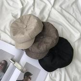 韓版帽子女復古貝雷帽休閒百搭八角帽潮棉麻日系畫家帽男【聚可愛】