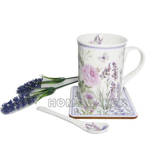 薰衣草馬克杯+杯墊+湯匙禮盒組_BV-R2005M/N-D108