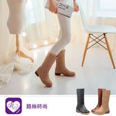 韓系簡約大方素面拉鍊圓頭方跟中長靴/3色/35-43碼 (RX1477-A-8) iRurus 路絲時尚