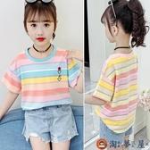 女童短袖T恤夏裝彩虹條紋上衣休閒寬鬆體恤衫【淘夢屋】