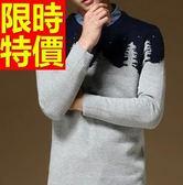 針織衫聖誕風-景色圖案保暖長袖男毛衣3色61l60[巴黎精品]