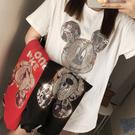 短t 韓版上衣 打底衣卡通T恤M-2XL米奇燙鑽短袖T恤女4F120-A.9522 依品國際