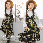 女童吊帶裙 甜美雪紡印花吊帶連身長裙 韓國外貿中大童 QB allshine