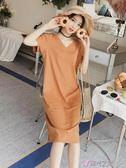 短袖洋裝露背連身裙女夏裝2018新款韓版氣質中長款V領T恤長裙子